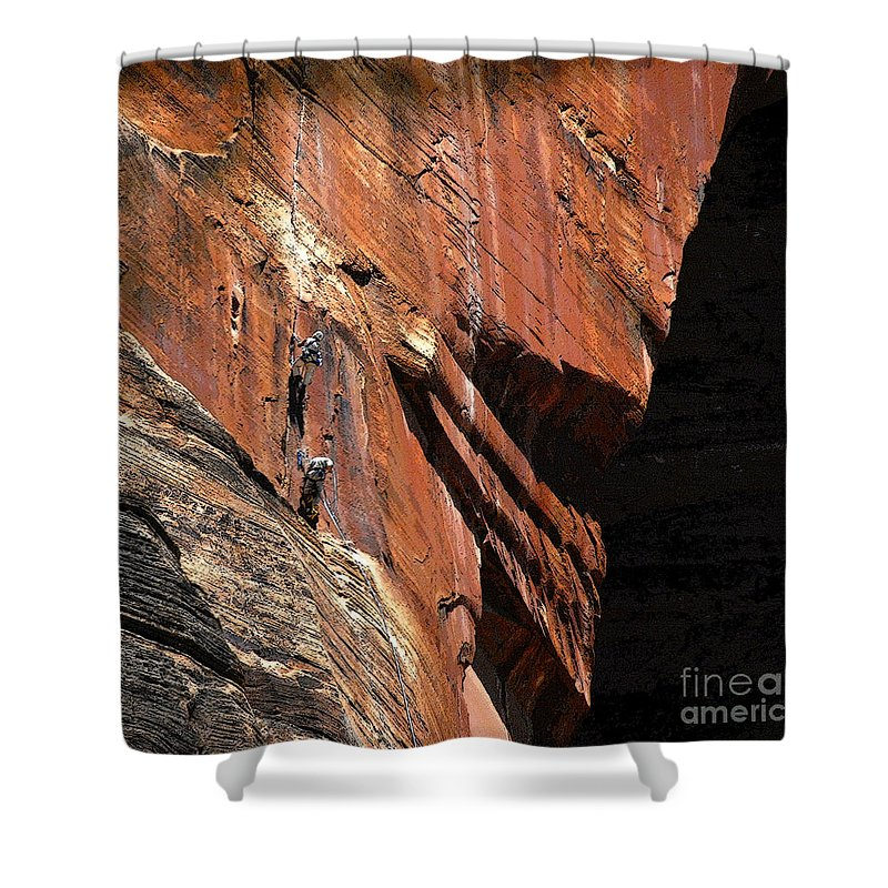 Art Shower Curtain featuring the painting Climbing The Great Arch by David Lee Thompson