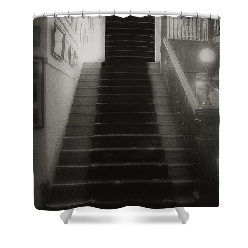 Black And White Shower Curtain featuring the photograph Climbing Toward The Unknown by RC DeWinter