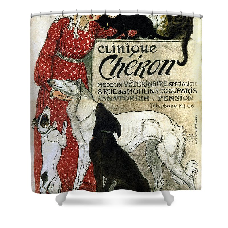 Clinique Cheron Shower Curtain featuring the mixed media Clinique Cheron - Vintage Clinic Advertising Poster by Studio Grafiikka