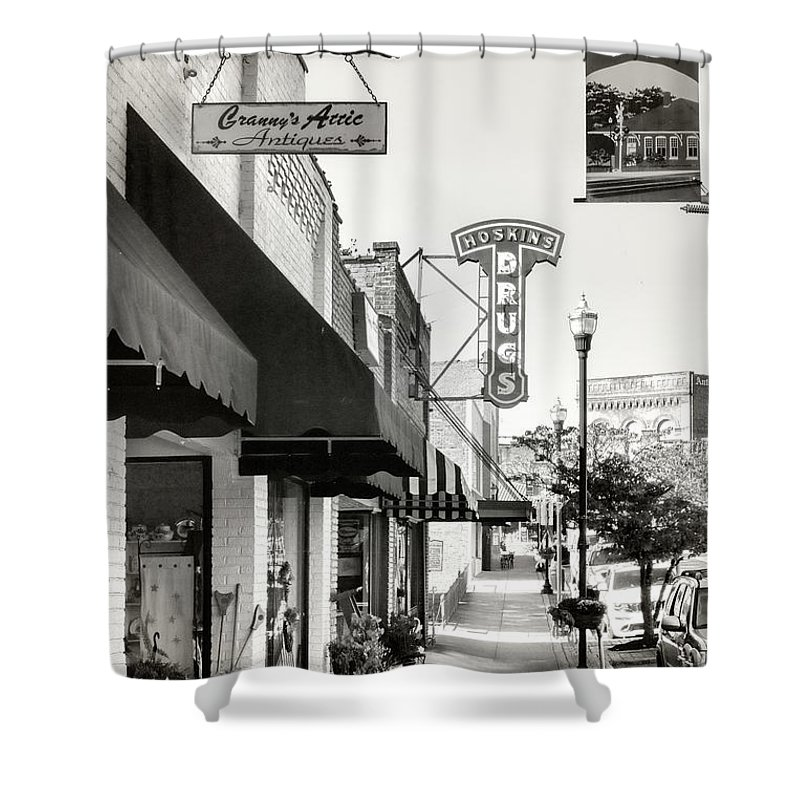 Clinton Shower Curtain featuring the photograph Clinton Tennessee Sepia by Sharon Popek