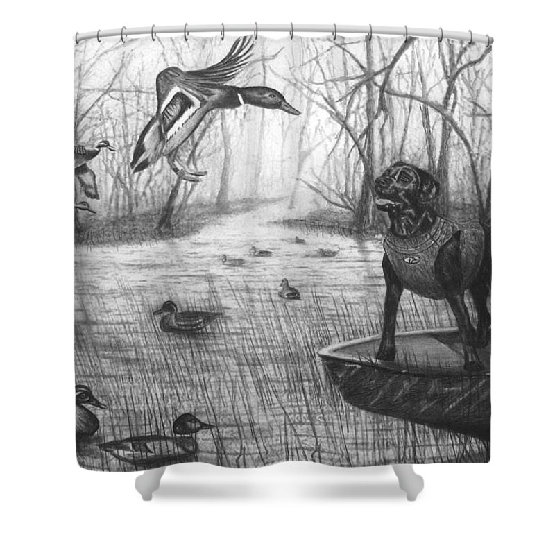 Cloaked Shower Curtain featuring the drawing Cloaked by Peter Piatt