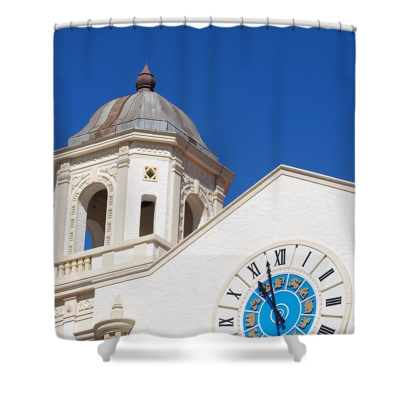 Clock Shower Curtain featuring the photograph Clock And Tower by Rob Hans