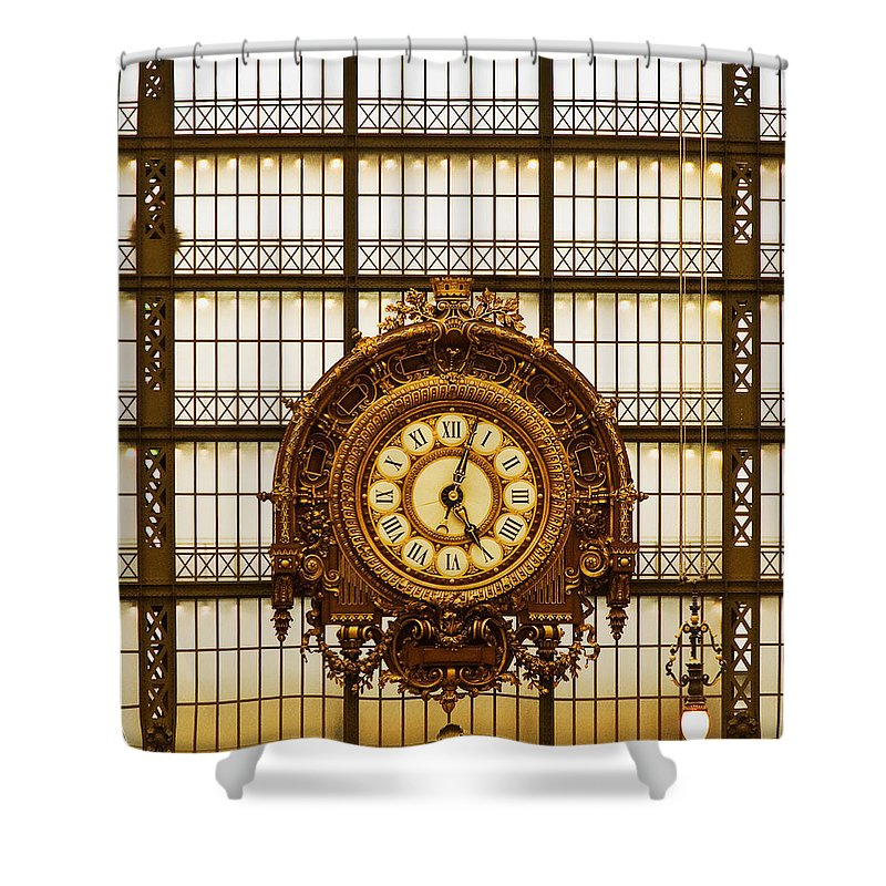 Paris Shower Curtain featuring the photograph Clock Dorsay Museum by Mick Burkey