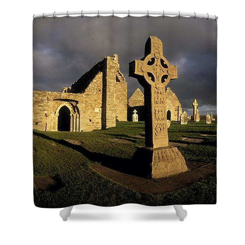 Abbey Shower Curtain featuring the photograph Clonmacnoise Monastery, Co Offaly by The Irish Image Collection