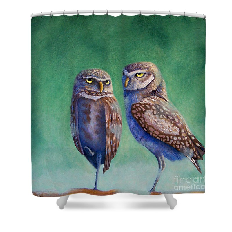 Owls Shower Curtain featuring the painting Close Encounters by Brian Commerford