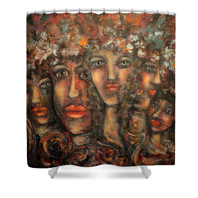 Expressionism Shower Curtain featuring the painting Close Friends by Natalie Holland