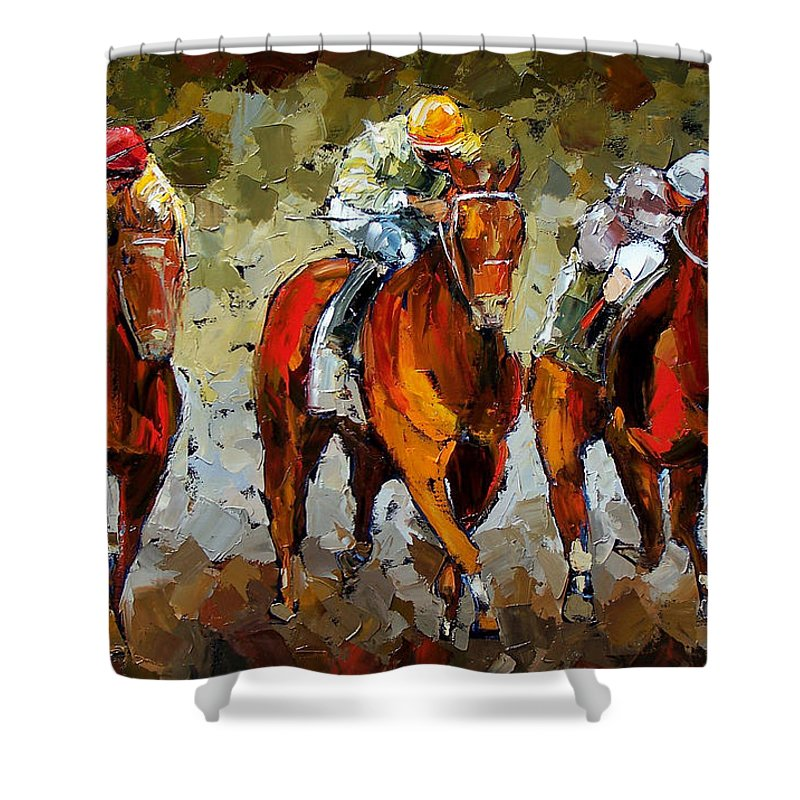 Horses Shower Curtain featuring the painting Close Race by Debra Hurd