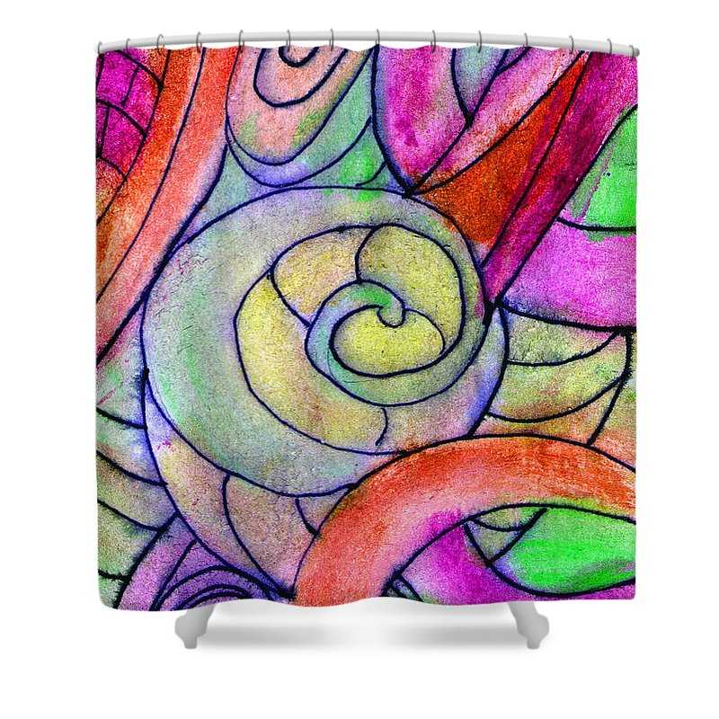 Abstract Shower Curtain featuring the painting Close Up In The Garden Brightly by Wayne Potrafka