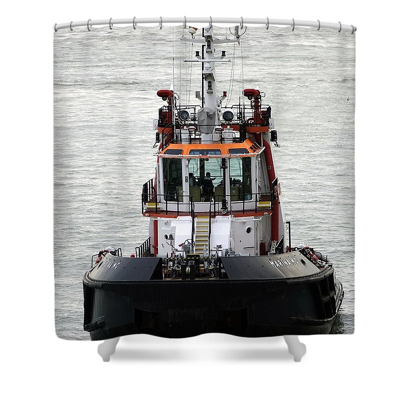 Tugboat Shower Curtain featuring the photograph Close Up Of A Tugboat In Venice Harbor by Richard Rosenshein