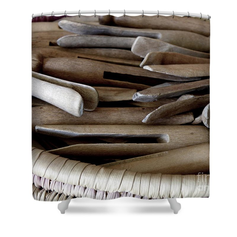 Clothes-pins Shower Curtain featuring the photograph Clothes-pins by Lainie Wrightson