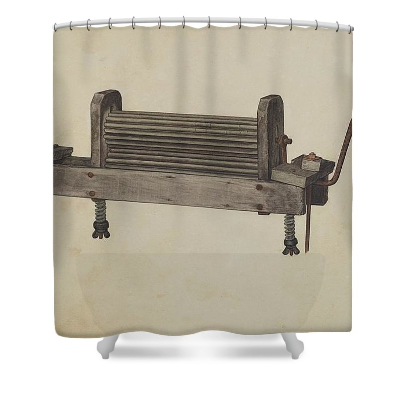 Shower Curtain featuring the drawing Clothes Wringer by Herndon Hightower