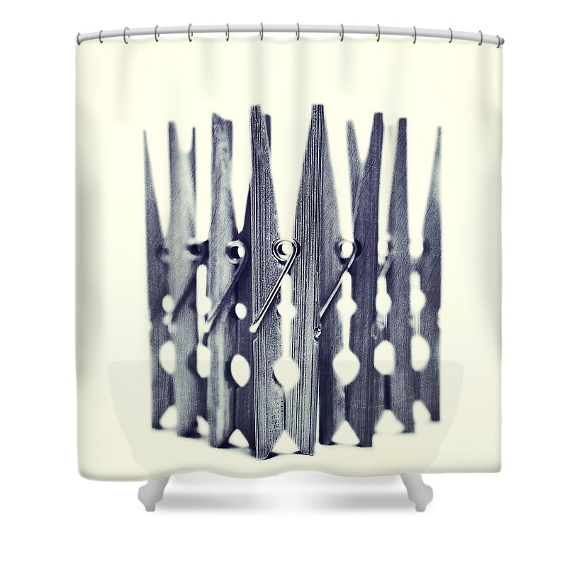 Clothespin Shower Curtain featuring the photograph Clothespin by Priska Wettstein
