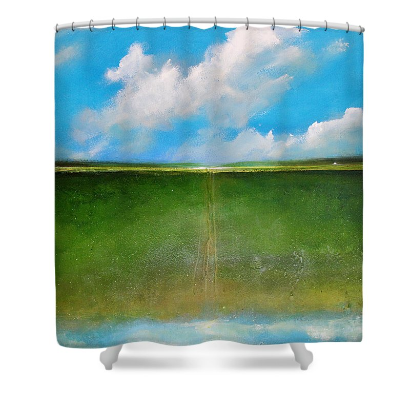 Clouds Shower Curtain featuring the painting Cloud Animals by Toni Grote