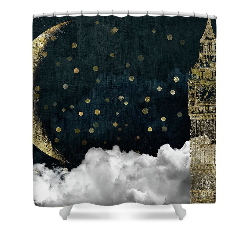 Tower Of London Shower Curtain featuring the painting Cloud Cities London by Mindy Sommers