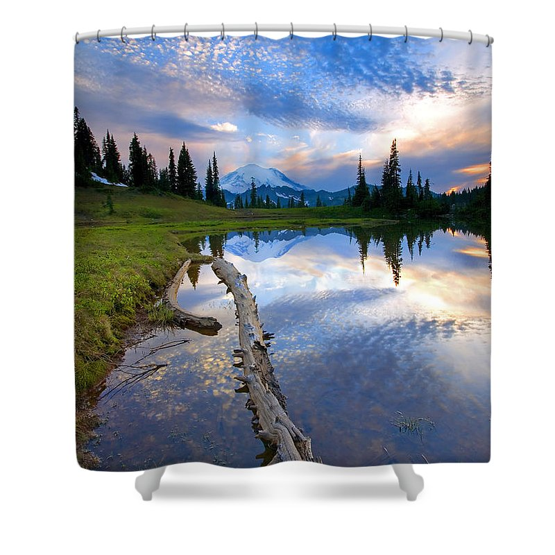 Landscape Shower Curtain featuring the photograph Cloud Explosion by Mike Dawson