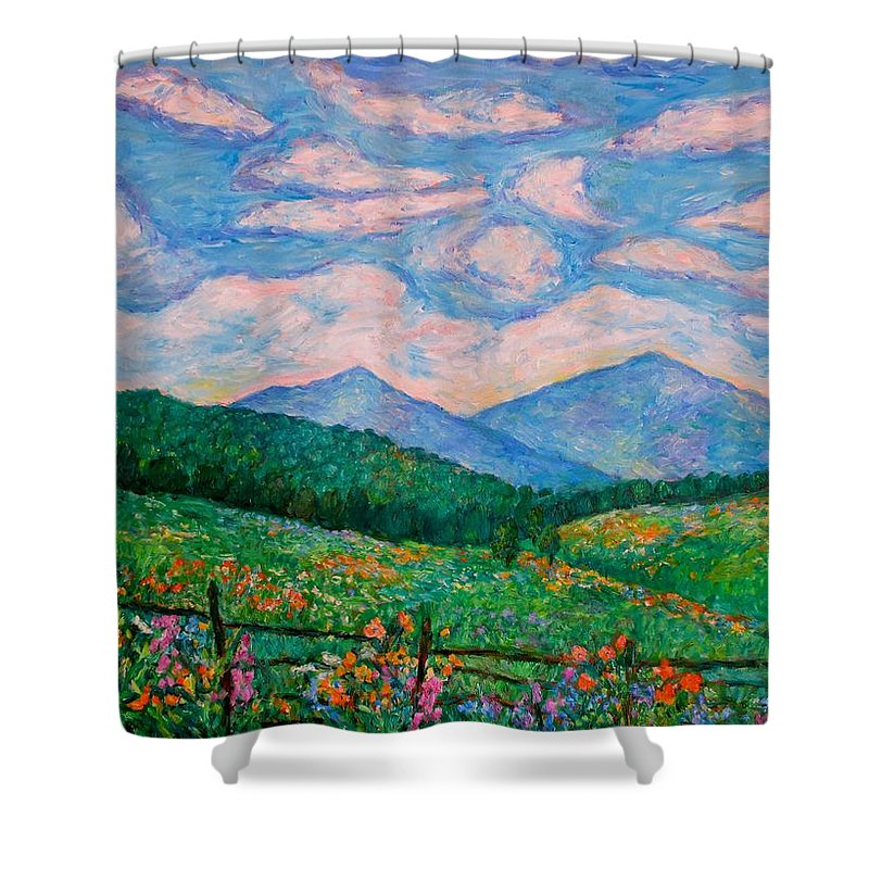 Kendall Kessler Shower Curtain featuring the painting Cloud Swirl over The Peaks of Otter by Kendall Kessler