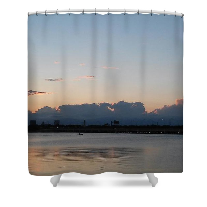 Shower Curtain featuring the photograph Clouds And Lake9 by John Hiatt