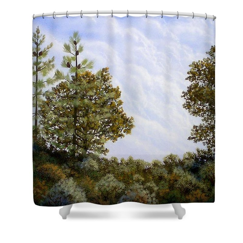 Landscape Shower Curtain featuring the painting Clouds In Foothills by Frank Wilson