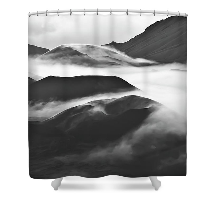 Mountains Shower Curtain featuring the photograph Maui Hawaii Haleakala National Park Clouds In Haleakala Crater by Jim Cazel