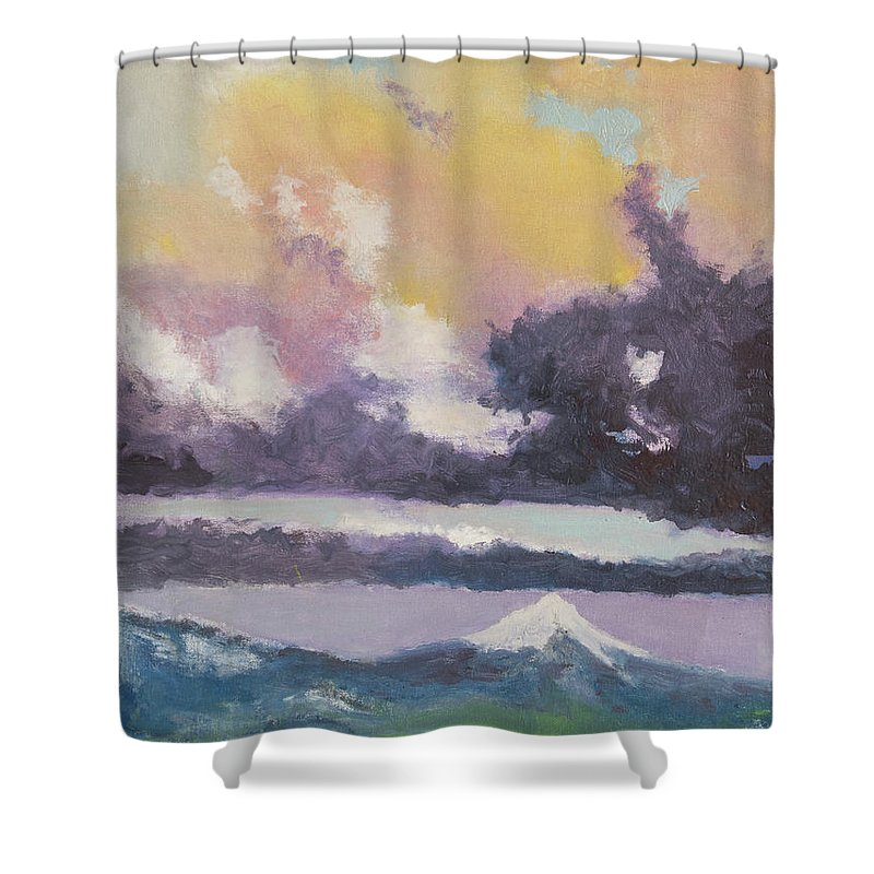 Mountain Shower Curtain featuring the painting Clouds Of Mt Hood by Craig Newland