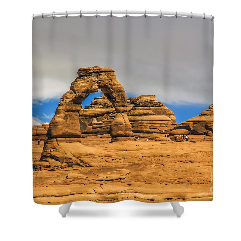 Arches Shower Curtain featuring the photograph Clouds Over Delicate Arch by Roberta Bragan