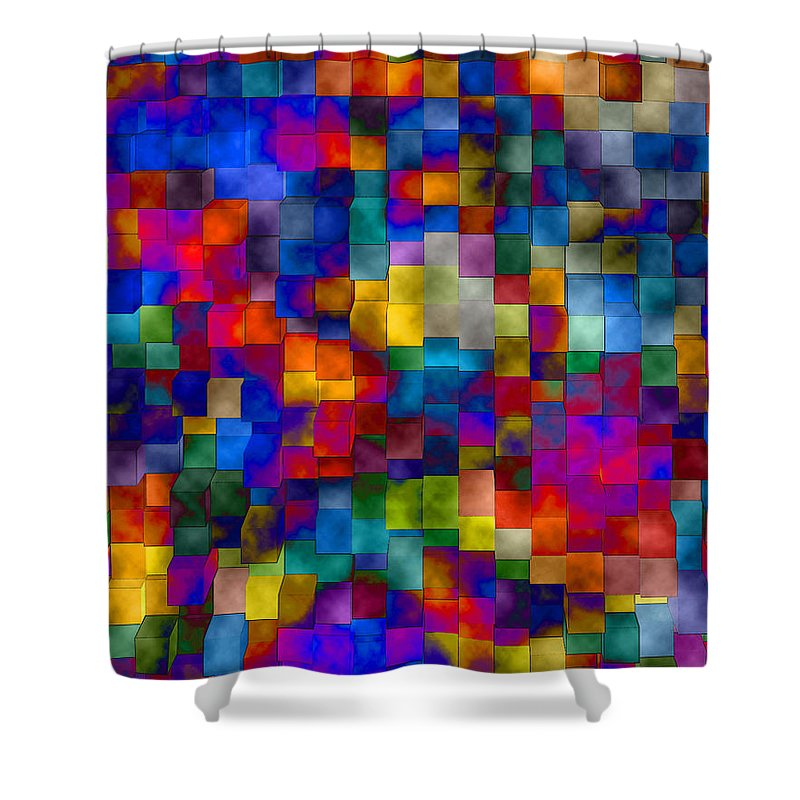 Abstract Shower Curtain featuring the digital art Cloudy Cubes by Ruth Palmer