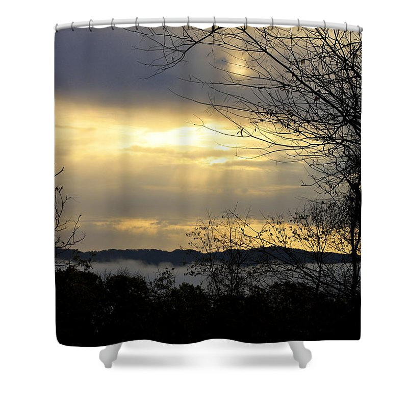 Sunrise Shower Curtain featuring the photograph Cloudy Sunrise 2 by Teresa Mucha