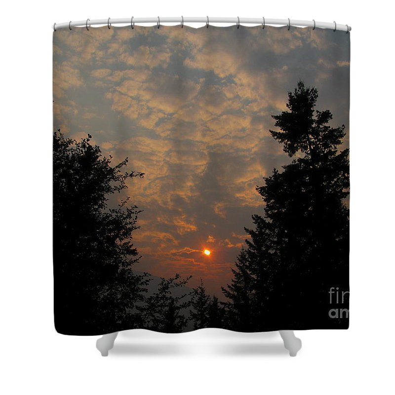 Sunset Shower Curtain featuring the photograph Cloudy Sunset by Leone Lund