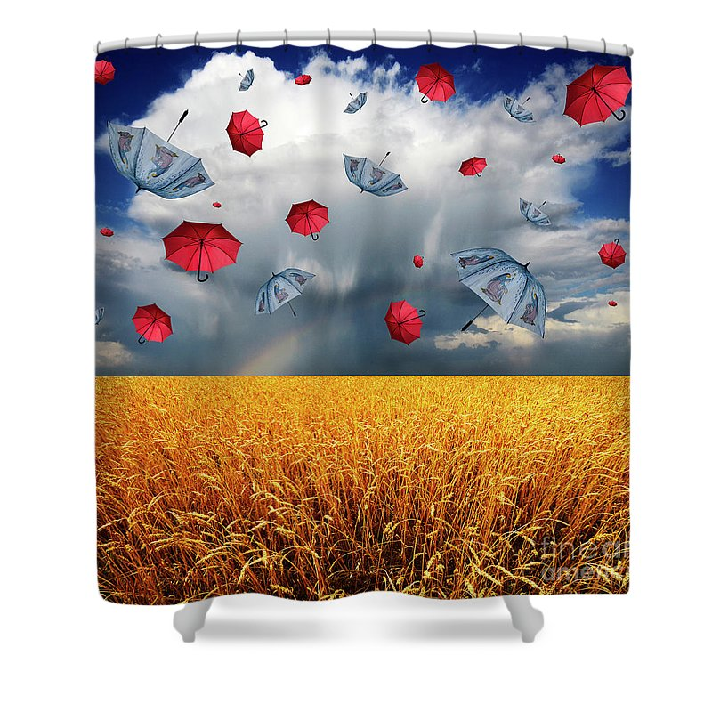 Field Shower Curtain featuring the photograph Cloudy With A Chance Of Umbrellas by Bob Christopher