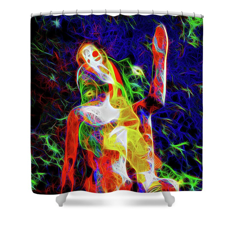 Clown Shower Curtain featuring the photograph 10780 Clown 3 - My Best Friend Neon by Colin Hunt