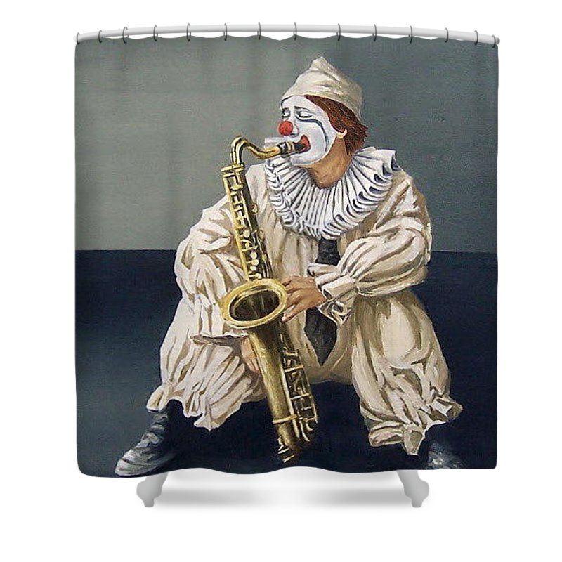 Clown Figurative Portrait People Shower Curtain featuring the painting Clown by Natalia Tejera