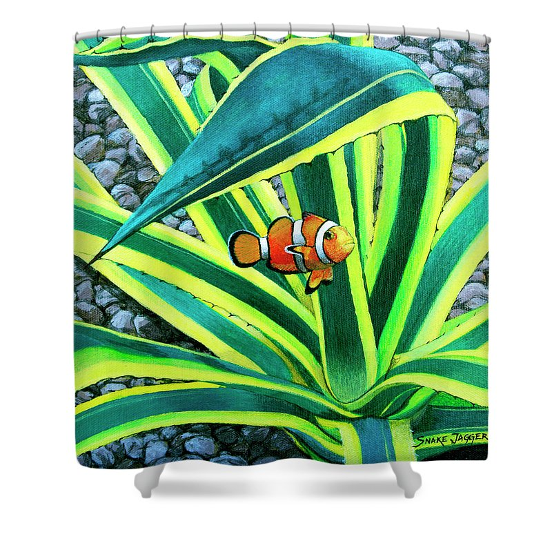 Fish Shower Curtain featuring the painting Clownfish by Snake Jagger