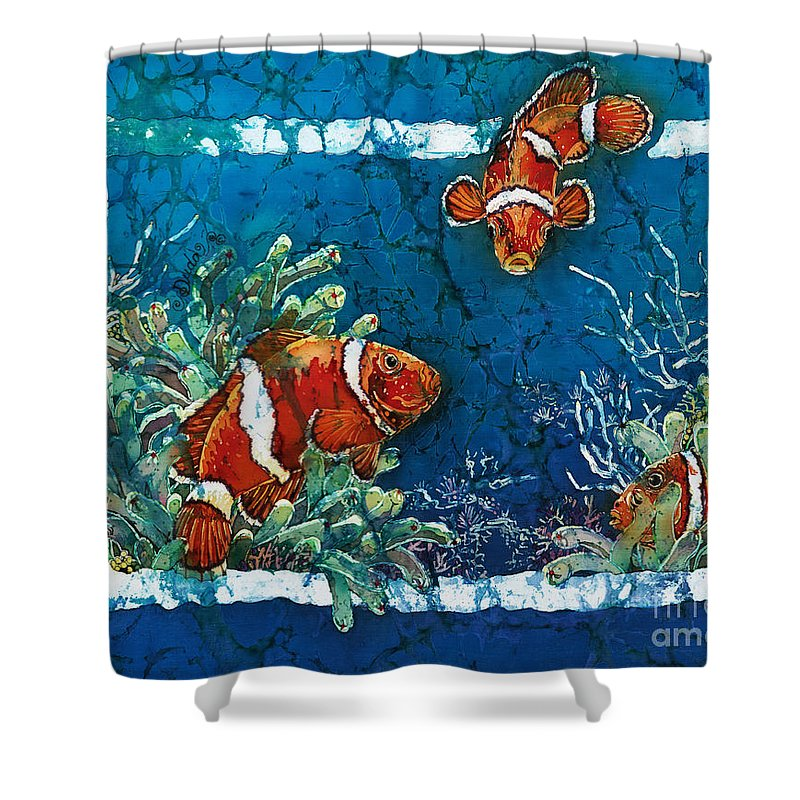 Ocean Shower Curtain featuring the painting Clowning Around - Clownfish by Sue Duda