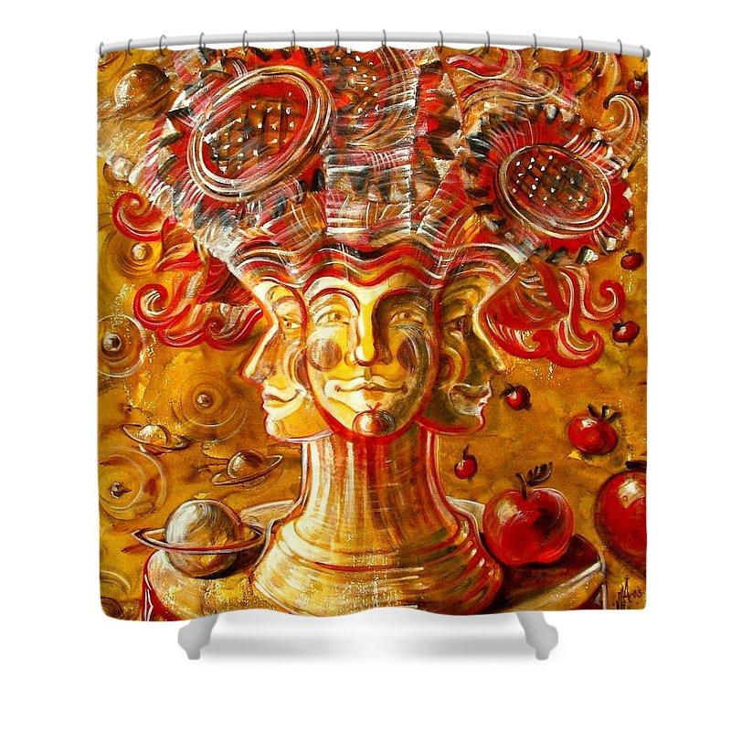 Inga Vereshchagina Shower Curtain featuring the painting Clowns With Sunflowers by Inga Vereshchagina