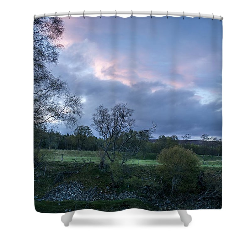 Evening Shower Curtain featuring the photograph The Evening Is Fallen Over The Meadow Colouring The Sky Pink And Blue. by Ineke Mighorst