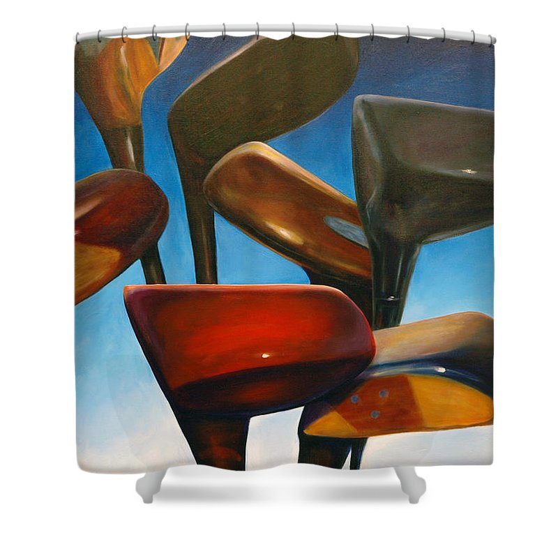 Golf Clubs Brown Shower Curtain featuring the painting Clubs Rising by Shannon Grissom