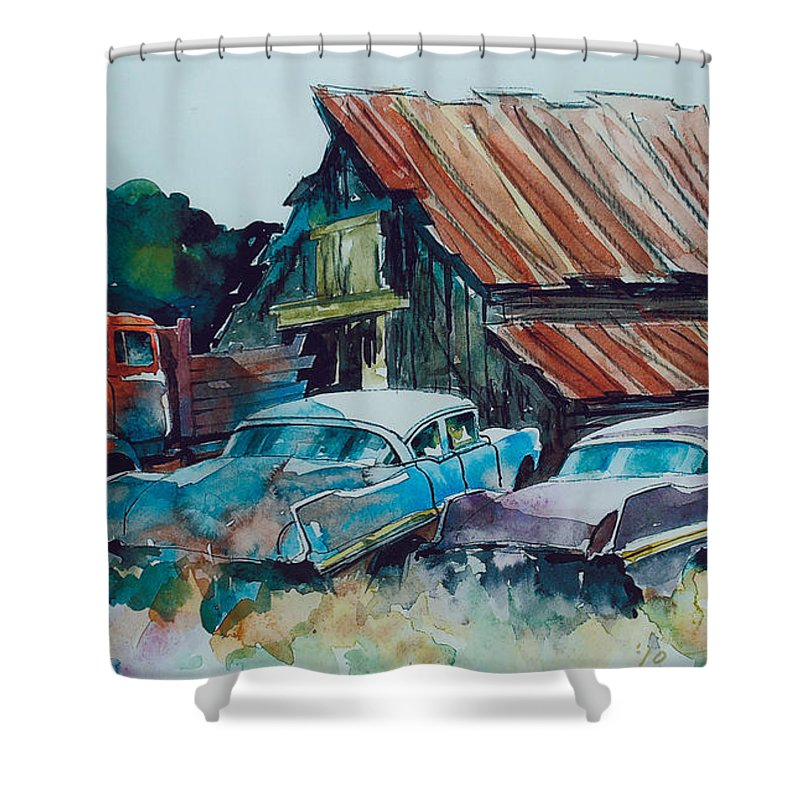 Ford Cabover Shower Curtain featuring the painting Cluster of Restorables by Ron Morrison