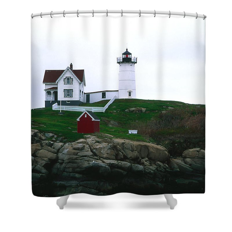 Landscape Lighthouse Nautical New England Nubble Light Cape Neddick Shower Curtain featuring the photograph Cnrf0502 by Henry Butz