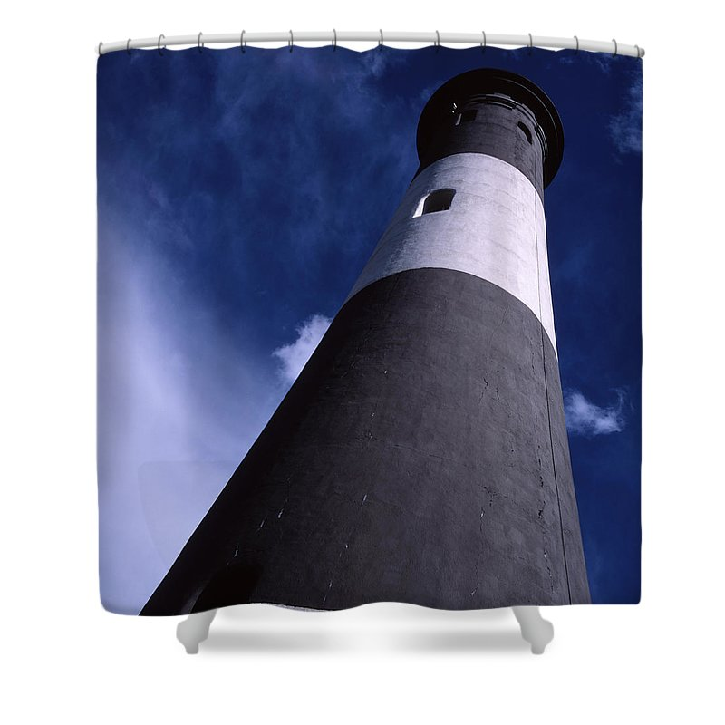 Landscape Lighthouse Fire Island Shower Curtain featuring the photograph Cnrf0701 by Henry Butz