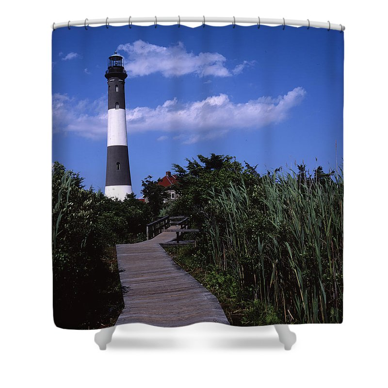 Landscape Lighthouse Fire Island Shower Curtain featuring the photograph Cnrf0702 by Henry Butz