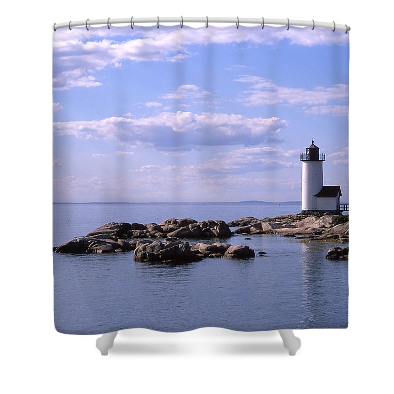 Landscape Lighthouse New England Nautical Shower Curtain featuring the photograph Cnrf0901 by Henry Butz
