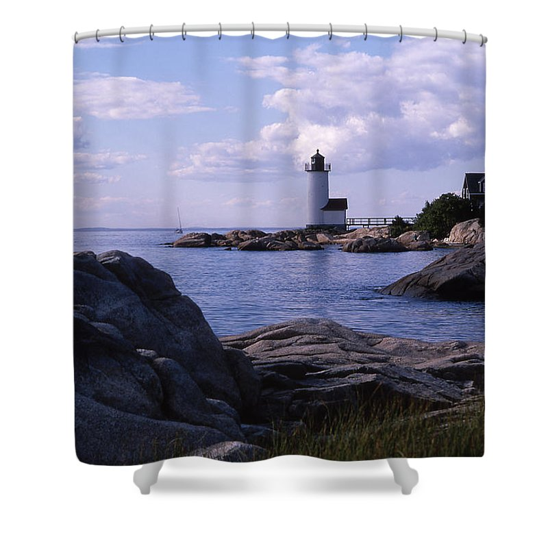 Landscape Lighthouse New England Annisquam Harbor Light Gloucester Shower Curtain featuring the photograph Cnrf0903 by Henry Butz