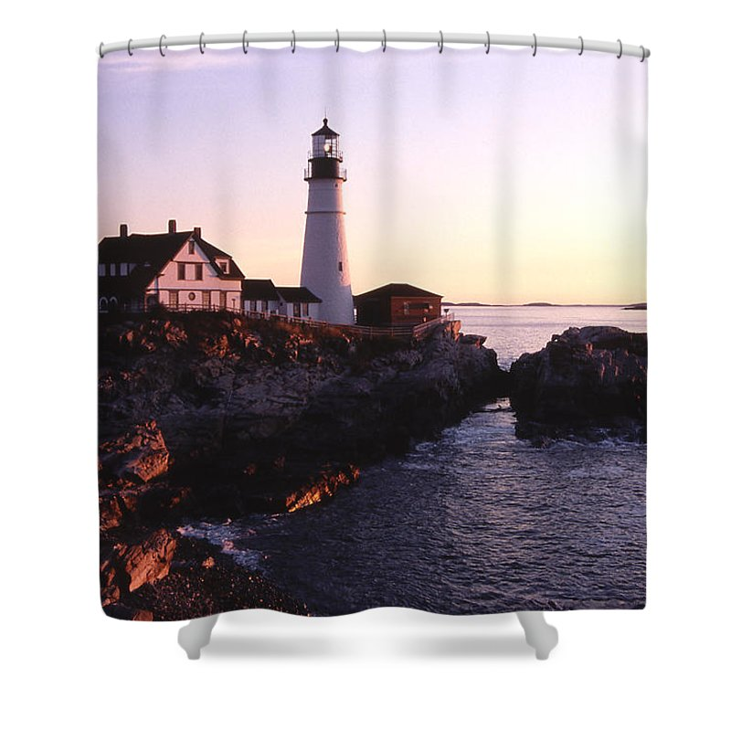 Landscape Lighthouse Nautical New England Portland Head Light Cape Elizabeth Shower Curtain featuring the photograph Cnrf0904 by Henry Butz