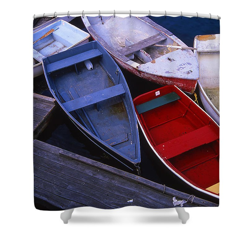 Landscape New England Boat Fishing Nautical Coast Shower Curtain featuring the photograph Cnrf0906 by Henry Butz