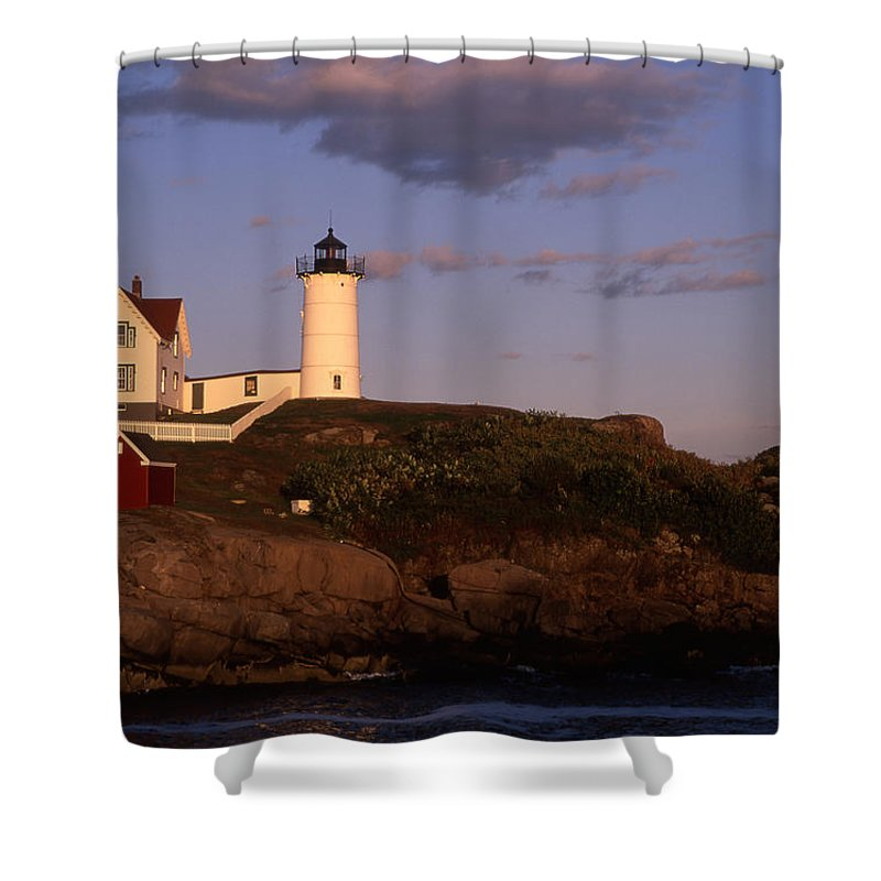 Landscape New England Lighthouse Nautical Coast Shower Curtain featuring the photograph Cnrf0908 by Henry Butz