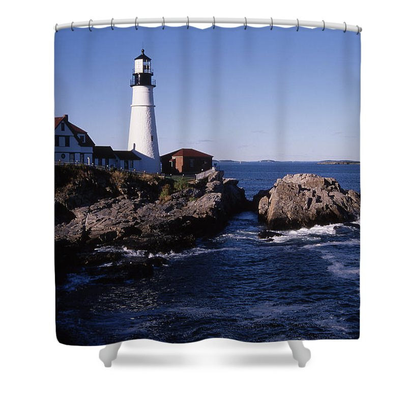 Landscape New England Lighthouse Nautical Coast Shower Curtain featuring the photograph Cnrf0910 by Henry Butz