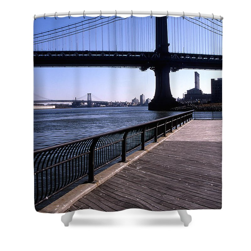 Landscape Manhattan Bridge New York City Shower Curtain featuring the photograph Cnrg0402 by Henry Butz