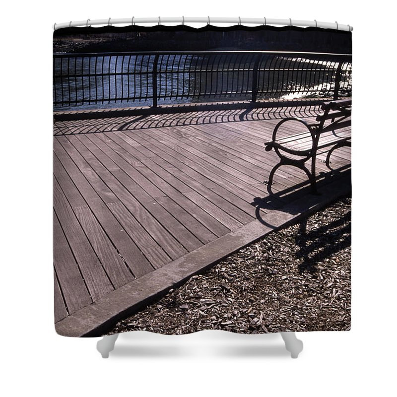 Manhattan Brooklyn Bridge Park Bench Shower Curtain featuring the photograph Cnrg0404 by Henry Butz