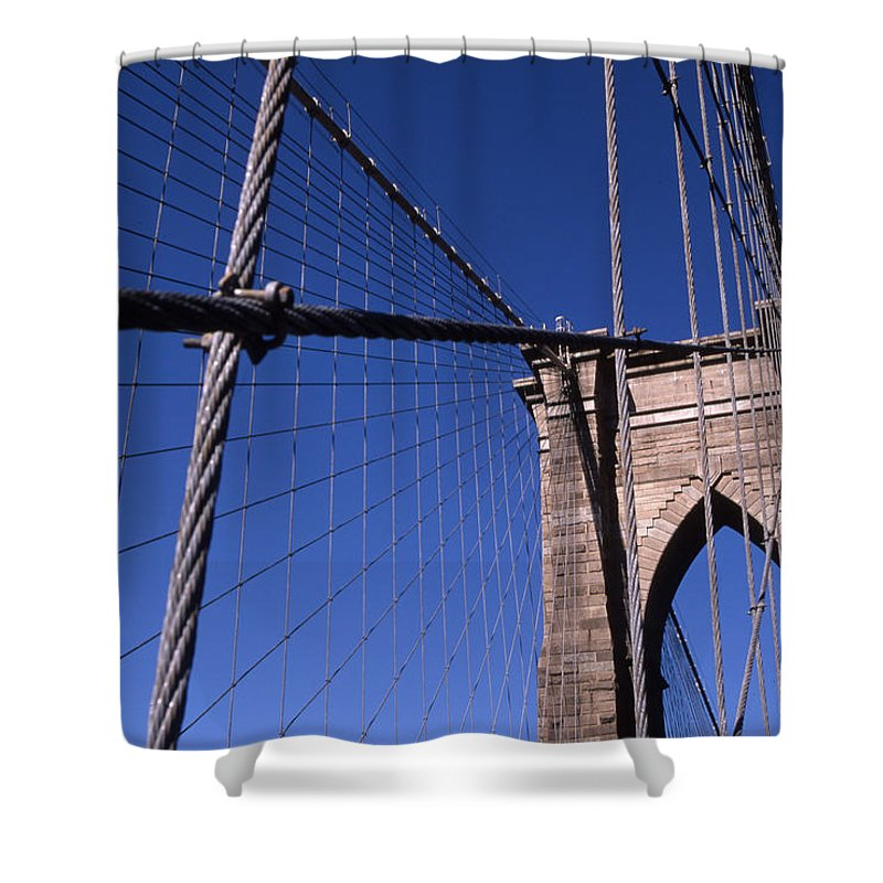 Landscape Brooklyn Bridge New York City Shower Curtain featuring the photograph Cnrg0405 by Henry Butz
