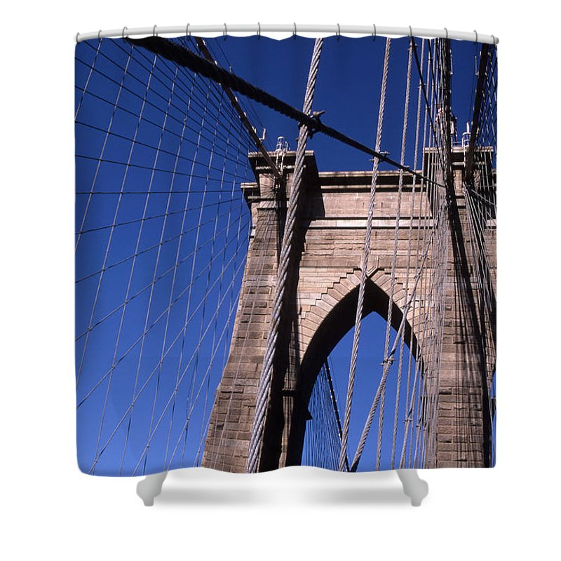 Landscape Brooklyn Bridge New York City Shower Curtain featuring the photograph Cnrg0406 by Henry Butz